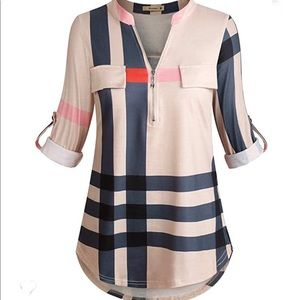 Plaid Tunic style blouse Medium NWT